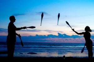 juggling priorities on the beach