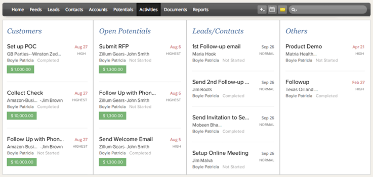 Zoho, activities, to-do list, CRM, Zoho CRM, organised, organisation
